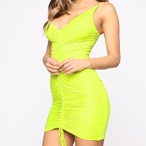 NEW Shanghai Ruched Dress - Lime